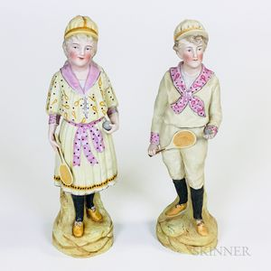 Pair of Bisque Porcelain Tennis Players