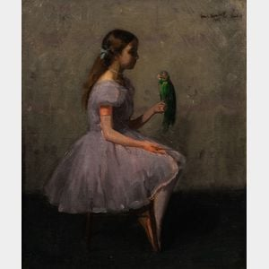 Louis Kronberg (American, 1872-1965)      Young Ballerina Holding a Parrot