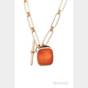 Antique Gold Chain with Gilt and Carnelian Seal Fob