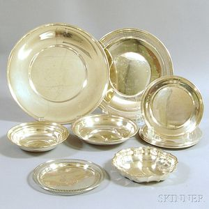Nine Assorted Sterling Silver Dishes