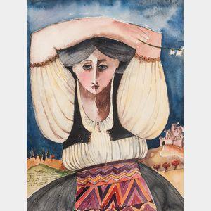 Marija Pecaric Jug (Croatian, b. 1937)      Woman in Landscape with Castle.