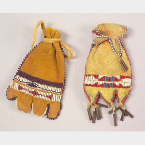 Two Southern Plains Beaded Hide Paint Pouches