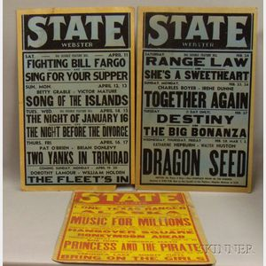 Three State Theater Movie Window Cards