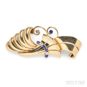 Retro 14kt Gold, Sapphire, and Diamond Brooch, Tiffany & Co.