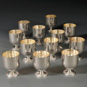 Twelve Sterling Silver Goblets