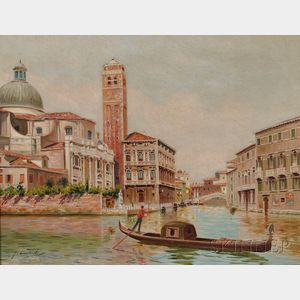 Italian School, 20th Century      Canal View, Venice.