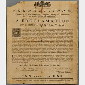 Fitch, Thomas (1700-1774) Proclamation for a Public Thanksgiving.