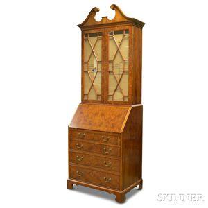Smith & Watson Georgian-style Burl Walnut Veneer Desk/Bookcase