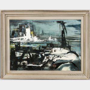 Xavier Gonzalez (American, 1898-1993)      Seascape in Gray: Urban Waterfront