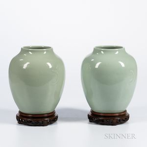 Near Pair of Celadon-glazed Jars
