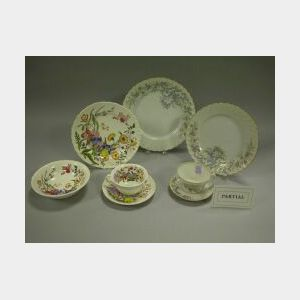Fifty-two Piece Wedgwood Ranunculus Pattern Ceramic Dinnerware Set and a Thirty-eight Piece Norwegian Porcelain Partial Service.