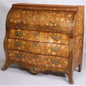 Dutch Rococo Fruitwood Marquetry Walnut Cylinder Desk