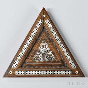 Rosewood Mother-of-pearl-inlaid Triangular Cribbage Board