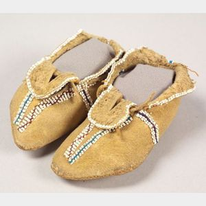 Southern Plains Beaded Hide Infant's Moccasins