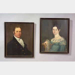 American School, 19th Century      Pair of Portraits of a Lady and a Gentleman.