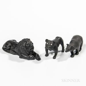 Three Wedgwood Black Basalt Animals