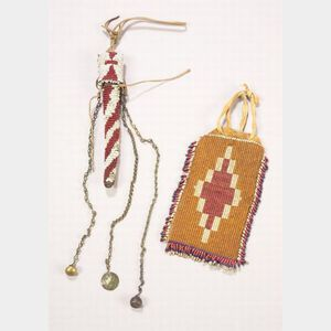 Two Southern Plains Beaded Items