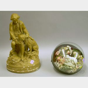 Victorian Bisque Figural and Cloth Floral Arrangement Under Glass Dome and a Wests Composition Statuary True ...