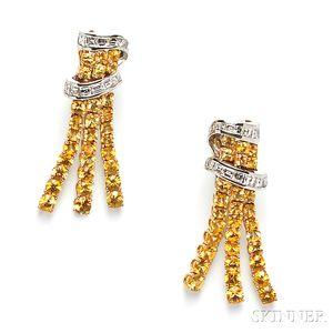 18kt Gold, Yellow Sapphire, and Diamond Earpendants