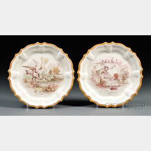 Pair of Wedgwood Queen's Ware Emile Lessore Decorated Plates