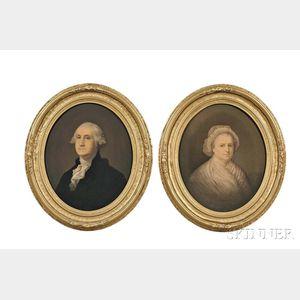 Washington, George (1732-1799) and Martha (1731-1802) Framed Chromolithographs.