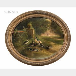 Carl Jutz (German, 1838-1916)      Two Genre Scenes: Ducks and Ducklings by a Barnyard Water Trough