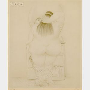 Fernando Botero (Colombian, b. 1932)      Mujer ante el Espejo