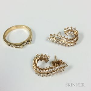 14kt Gold and Diamond Ring and a Pair of Earrings
