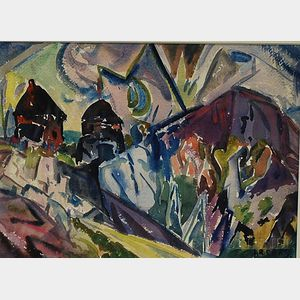 Leighton R. Cram (American, 1895-1981)      Abstract Landscape with Houses and Mountains.