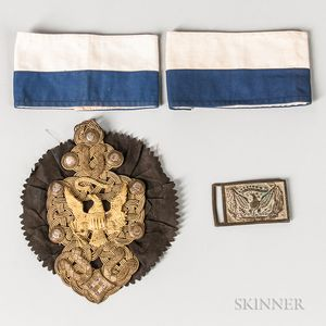 Cockade, Buckle, and Two Armbands