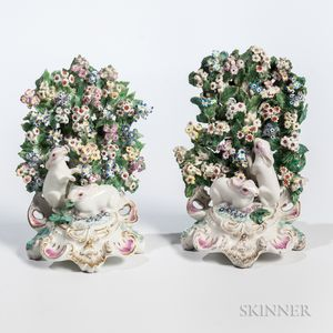 Pair of Chelsea/Bow-type Porcelain Mantel Rabbit Groups