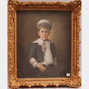 American School, 19th Century      Portrait of Child with Ruffled Shirt and Hat.