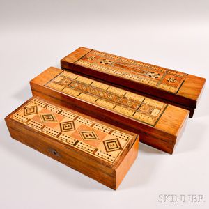 Three Geometric Inlaid Cribbage Board/Boxes