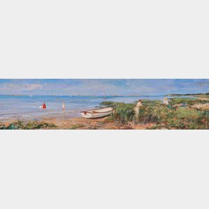 Jan Selman (American, b. 1945)      Beach Scene with Rowboat and Figures