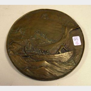 Bronze-finished Resin Whaling Scene Plaque.