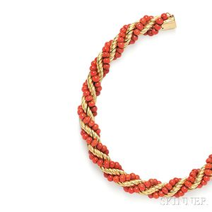 18kt Gold and Coral Bead Bracelet
