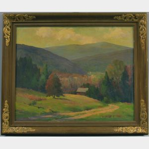 Helen M. Butman (American, d. 1960)      Valley View with Distant Church Steeple.