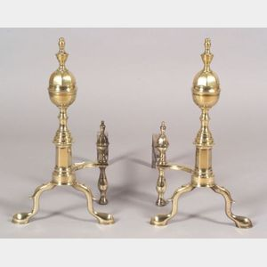 Brass and Iron Faceted Lemon-top Andirons