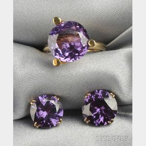 14kt Gold and Synthetic Color Change Sapphire Suite