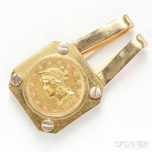 18kt Gold Coin-mounted Money Clip