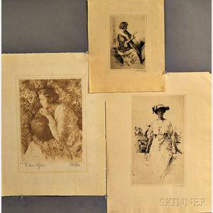 Walter MacEwen (American, 1860-1943)      Three Etchings depicting Women