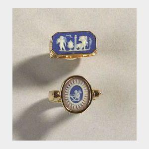 Two Wedgwood Jasper Mounted Rings