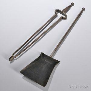 Shaker Steel Stove Tongs and Shovel