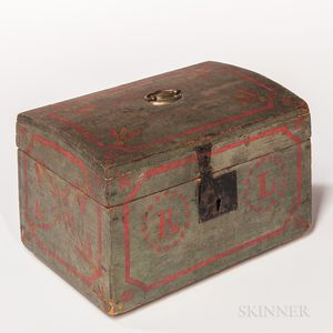 Blue-painted Paint-decorated Dome-top Box