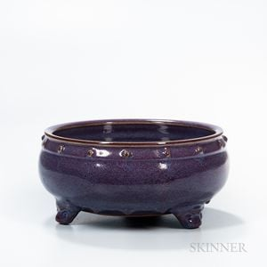 Mottled Purple-glazed Jun-type Tripod Censer