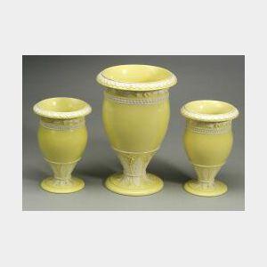 Wedgwood Three Piece Yellow Ground Queen's Ware Vase Garniture