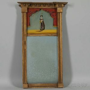 Federal Gilt and Reverse-painted Tabernacle Mirror