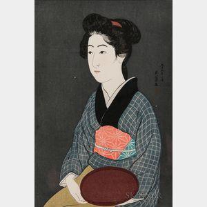 Hashiguchi Goyo (1880-1921), Woman Holding a Tray