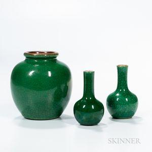 Three Small Green Crackle-glazed Vases