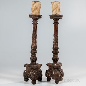 Pair of Carved and Gessoed Wood Pricket Candlesticks